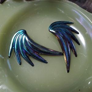 🦕3/$10 Rad Vtg Iridescent Peacock Earrings